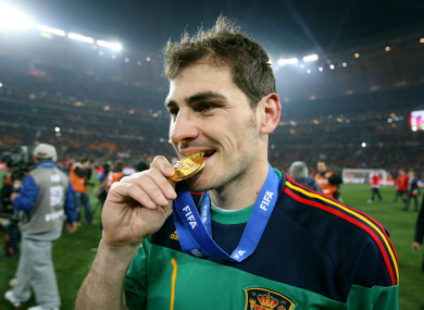 Casillas captained La Roja to their first World Cup against the Netherlands in Johannesburg.