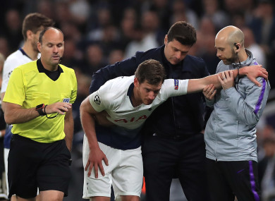 Vertonghen after suffering the injury against Ajax on Tuesday.
