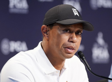 Tiger Woods speaks at a press conference today.