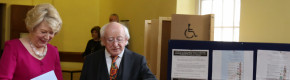 President Michael D Higgins and his wife Sabina casting their votes at St Mary's Hospital in the Phoenix Park this morning