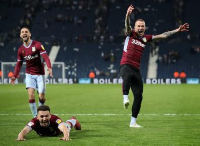 Aston Villa's Glenn Whelan, John McGinn and Conor Hourihane celebrate victory (file pic).