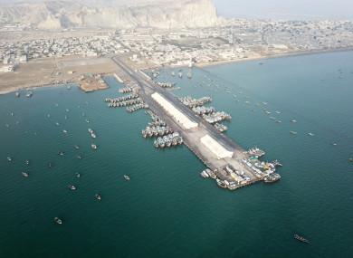 The bay of Gwadar port, near where the hotel is located in southwest Pakistan's Gwadar.