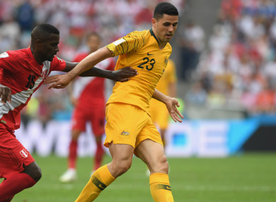 Australia in action against South American nation Peru at the 2018 World Cup