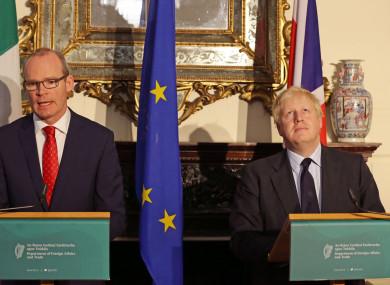 Simon Coveney and Boris Johnson speak to the media in late 2017.