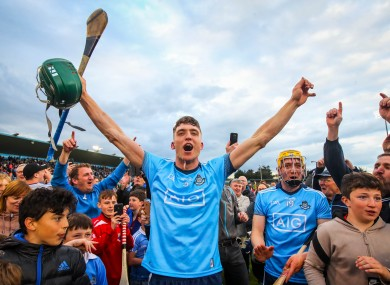 Chris Crummey celebrates Dublin's victory over Galway.