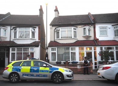 Police at the scene in Raymead Avenue, Thornton Heath, Croydon where a woman who was around eight months pregnant was stabbed to death.