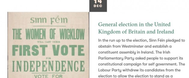 A screenshot of the digital archive preserved on the Dáil100.ie website.