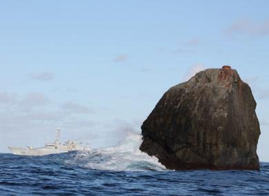 The Irish Naval Service vessel, LÉ Róisín, on routine patrol at Rockall.