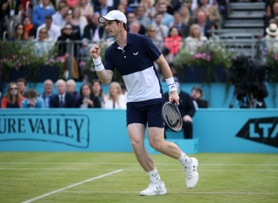 Murray in action at Queen's on Thursday evening.