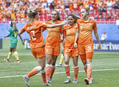 Miedema (right) celebrates scoring her second goal on Saturday.