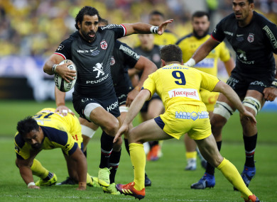Huget runs during the Top 14 final at the Stade de France on Saturday.