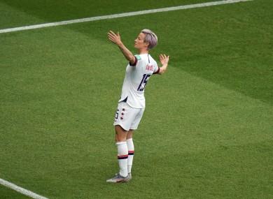 Megan Rapinoe celebrates a goal.