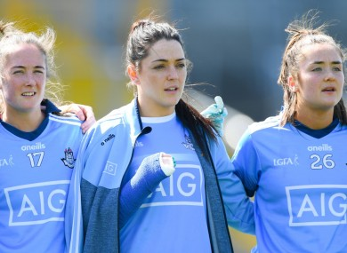 Injured Dublin player Sinéad Goldrick before the league semi-final between Cork and Dublin.