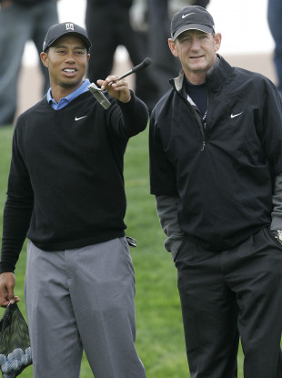 Tiger Woods and Hank Haney pictured during a practice session for the World Golf Championships Accenture Match Play Championship in 2007.