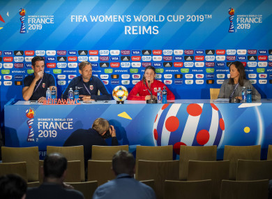 Terje Skeie, head of media of Norway, Martin Sjoegren, head coach of Norway, and Maren Naevdal Mjelde of Norway during a press conference.