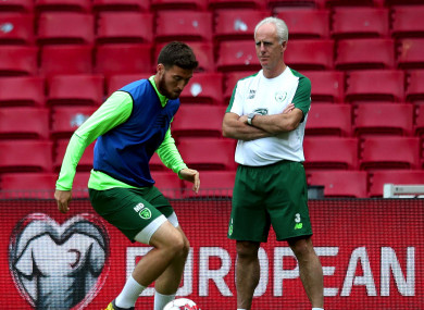 Matt Doherty and Mick McCarthy pictured in Copenhagen ahead of last Friday's game against Denmark.
