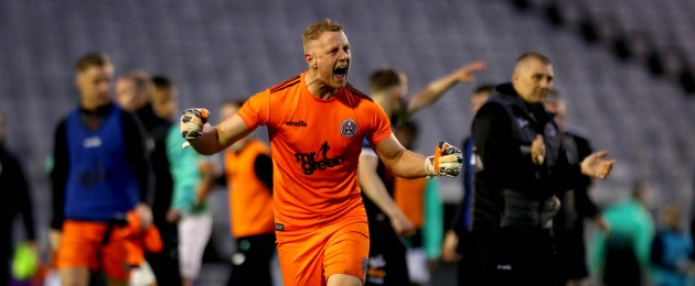 Passion: Bohs goalkeeper James Talbot leads the celebrations after their derby win against Shamrock Rovers.