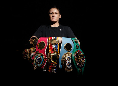 Katie Taylor poses with her five world titles at The County Club in Dunshaughlin.