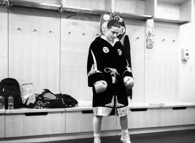 Katie Taylor warms up in her dressing room ahead of her undisputed world-title clash with Delfine Persoon.