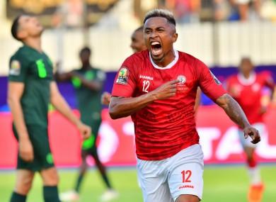Lalaina Nomenjanahary celebrates his goal.