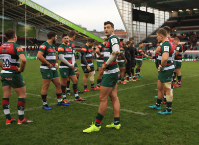 Leicester players at Welford Road this season.
