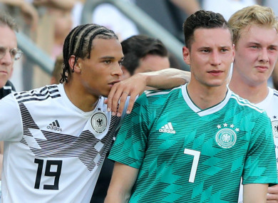 Leroy Sane and Julian Draxler in training with Germany