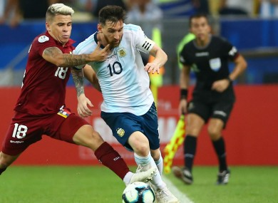 Lionel Messi pictured competing in the Copa America.
