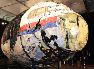 The reconstructed front of the Malaysia Airlines plane that was downed by a missile over Ukraine