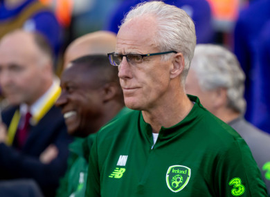 Mick McCarthy on the touchline during tonight's win against Gibraltar.