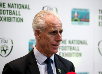 Mick McCarthy pictured this afternoon at the launch of the National Football Exhibition at the University of Limerick.