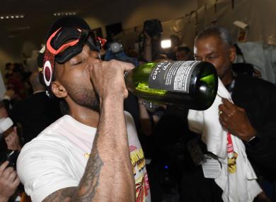 Kawhi Leonard celebrates Canada's first NBA title.