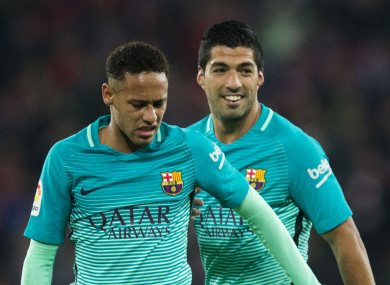 Neymar and Luis Suarez during their time as Barcelona team-mates.