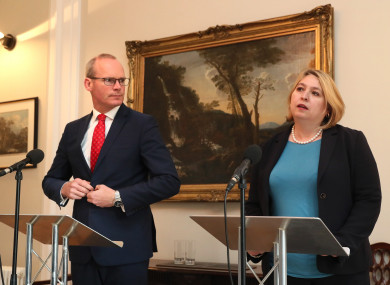 Minister for Foreign Affairs Simon Coveney and Northern Ireland Secretary Karen Bradley, April.