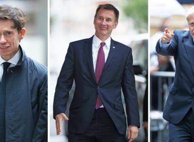 (L-R) Rory Stewart, Jeremy Hunt, Boris Johnson