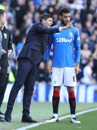 Rangers manager Steven Gerrard gives instructions to Connor Goldson during their game against Celtic at Ibrox in May.