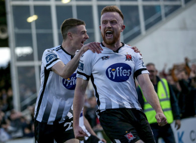 Dundalk's Sean Hoare celebrates with Dan Kelly after his recent winning goal against St Patrick's Athletic.