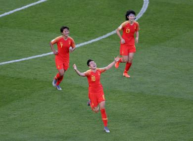 China goalscorer, Li Ying.