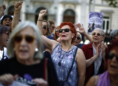 Protestors outside Spain's Supreme Court following the verdict.