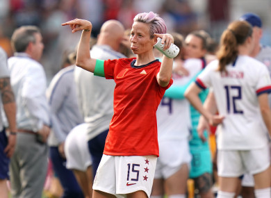 Megan Rapinoe helped USA progress with a brace of goals against Spain.