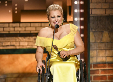 Ali Stroker accepts her award at the Tonys in New York last night.