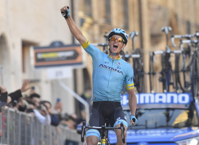 Jakob Fuglsang emerges victorious during today's final stage.