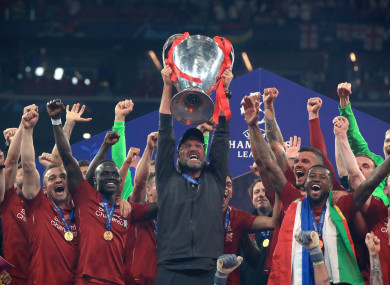 Klopp lifts the Champions League in Madrid.