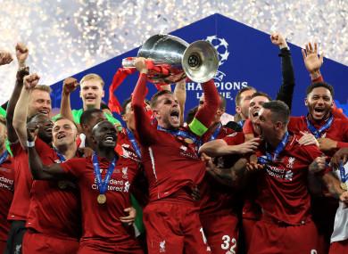 Jordan Henderson leads the Liverpool celebrations in Madrid.