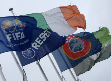 Flags flying outside of FAI offices in Abbottstown.