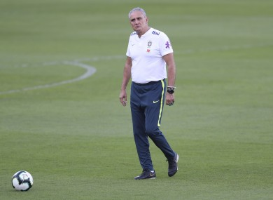 Tite on the training field yesterday.