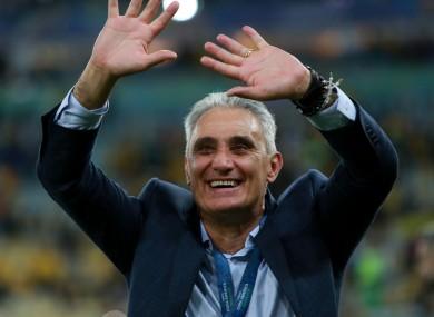 Celebration: Brazil coach Tite.