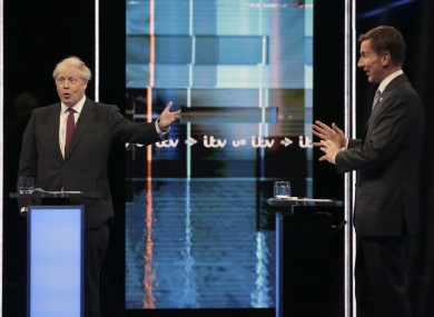 Johnson (left) and Hunt during a recent TV debate