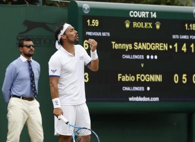 Fabio Fognini pictured during his match against Tennys Sandgren.