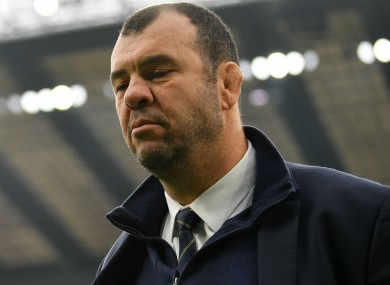Australia coach Michael Cheika, who has set a high bar for the Rugby World Cup.