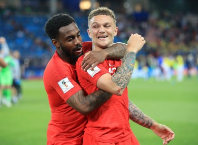 Danny Rose and Kieran Trippier celebrate Trippier's winning penalty during a World Cup shootout against Colombia.